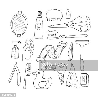 Bathroom. Cosmetics objects. : Vector Art