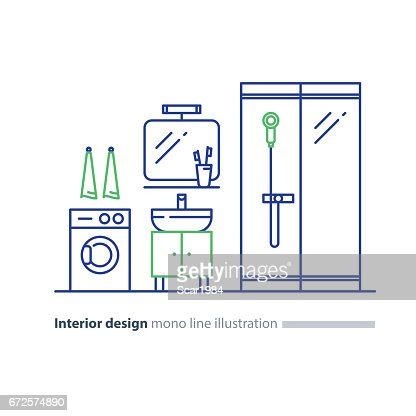 Bathroom Design Plan Facility Items Washing Mashine And Shower Stand