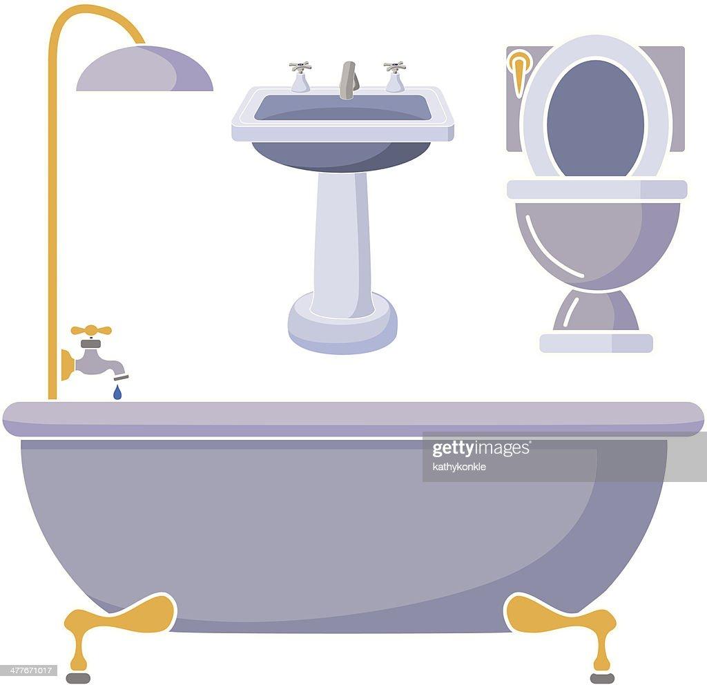 Bathroom Fixtures In Color Vector Art Getty Images