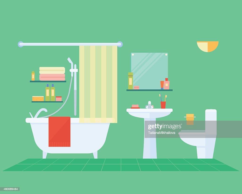 bathroom interior with furniture : Vector Art