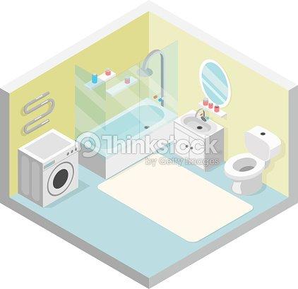 Bathroom Isometric Toilet Sink Washing Machine Shower Modern