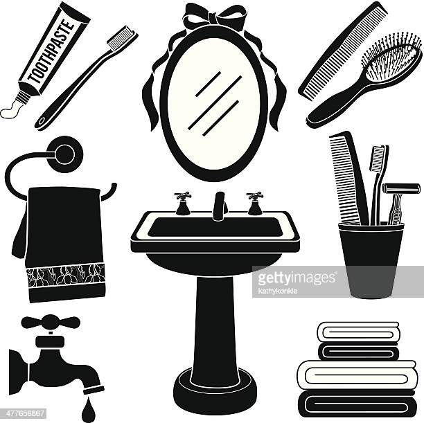 Bathroom Clip Art Black And White: Towel Stock Illustrations And Cartoons