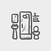 Bathroom sketch hand drawn doodle icon for web, mobile and infographics. Hand drawn vector dark grey icon isolated on light grey background.