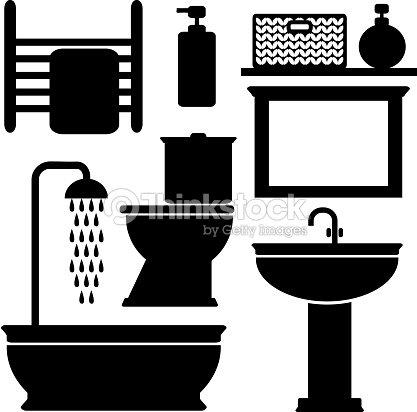 Conjunto de iconos negro ba o sanitario elevados vector for Conjunto sanitarios bano