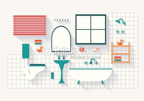 Badezimmer mit inventar und installationen langen schatten for Badezimmer clipart