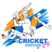 illustration of batsman playing cricket championship