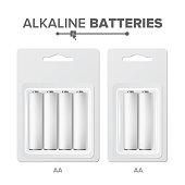 AA Batteries Packed Vector. Alkaline Battery In Blister. Realistic Glossy Battery Accumulator. Mock Up Good For Branding Design. Illustration
