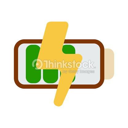 Batteriesymbol Energielabel Für Web Auf Weißem Hintergrund Flache ...