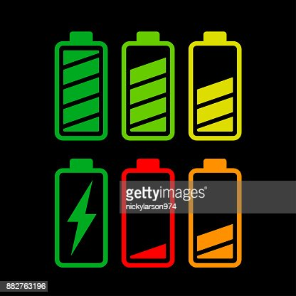 battery icons on white background : stock vector