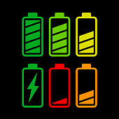 Illustration of battery icons on white background