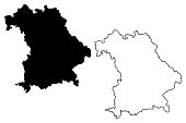 Bavaria (Federal Republic of Germany, State of Germany) map vector illustration, scribble sketch Bavaria(Free State of Bavaria) map