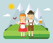 The girl and the guy in the Bavarian national costumes. Couple in the mountains on a picnic with beer and sausages. The character for Oktoberfest. Cartoon flat vector illustration.