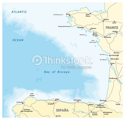 Map Of France La Rochelle.Bay Of Biscaya Road Map Spain France Stock Vector Thinkstock