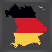Bayern map of Germany with German national flag illustration
