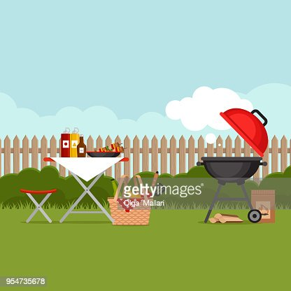 Bbq party background with grill. Barbecue poster. Flat style, vector illustration. : stock vector