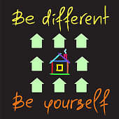 Be different, Be yourself - handwritten motivational quote. Print for inspiring poster, t-shirt, bag, cups, greeting postcard, flyer, sticker. Simple vector sign