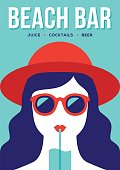 Beach bar banner or poster design with girl in red summer hat and sunglasses drinking cocktail. Flat illustration in retro style.