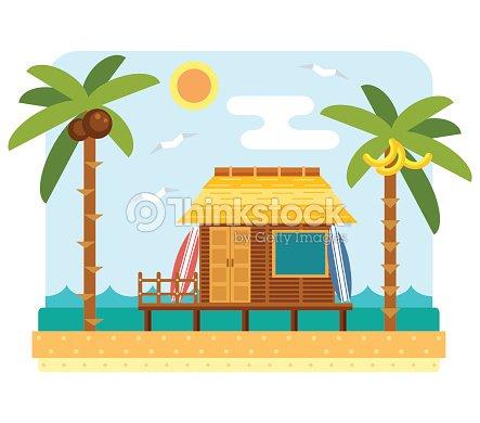 Beach bungalow hotel arte vettoriale thinkstock for Disegni di bungalow contemporanei