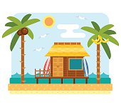 Beach bungalow hotel. Flat beach scene with hut, sea, send, surfboard and palm tree. Surfers bungalow with two board. Summer beach and ocean waves landscape. Bungalow hotel on coast. Tropical paradise