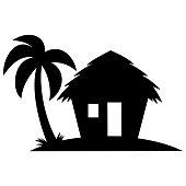 A vector cartoon illustration of a Beach Cabana Silhouette.