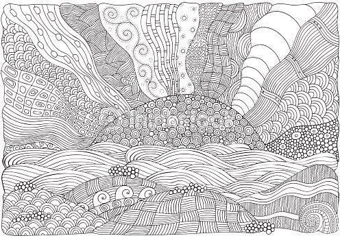 Playa Frente Al Mar Libro Para Colorear Arte vectorial | Thinkstock