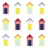 Beach Hut Seamless Pattern Background