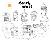 Beach huts and bungalows, hand drawn outline doodle set with light house wooden boat and anchor, seashells and footsteps on sandy beach, vector illustation isolated on white background.
