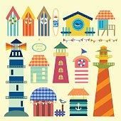 Beach huts ornaments flat design.eps10 vector
