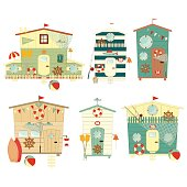 Beach Huts on Seafront Set. Isolated on White Background. Summer Poster. Advertisement for Family Summer Vacation in Beach Houses. Vector Illustration.