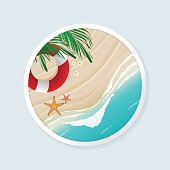 Top view of beach scene with coconut leaves, flowers, lifebuoy and starfishes in white circle frame. Vector illustration of seascape.