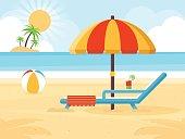 Beach landscape with beach umbrella, beach chair, cocktail and a ball. Flat design style.