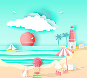 beach landscape with  happy family, paper art style on pastel color background.vector illustration