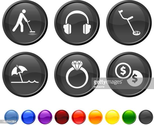 beach metal detector royalty free vector icon set
