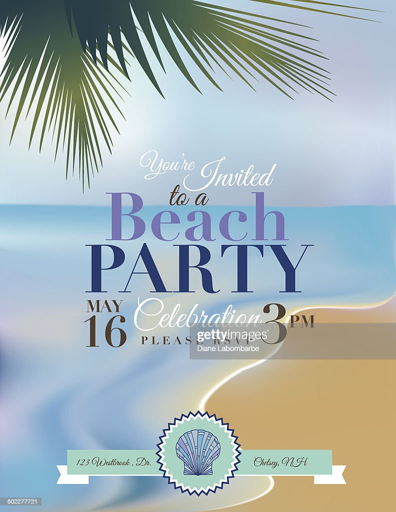 Beach Or Tropical Party Invitation Template Vector Art | Getty Images