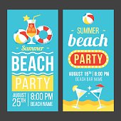 Colorful vector flyer, poster or banner templates for beach party. Flat style. Eps 10.