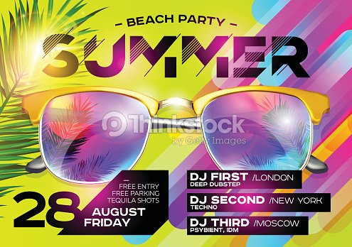Beach Party Poster for Music Festival. Electronic Music Cover for Summer Fest or DJ Party Flyer. : stock vector