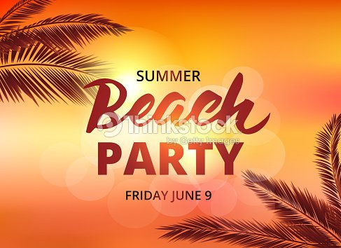 beach party poster template with typographic elements ベクトルアート