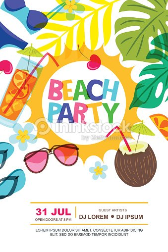 beach party vector summer poster design template sun palm leaves and
