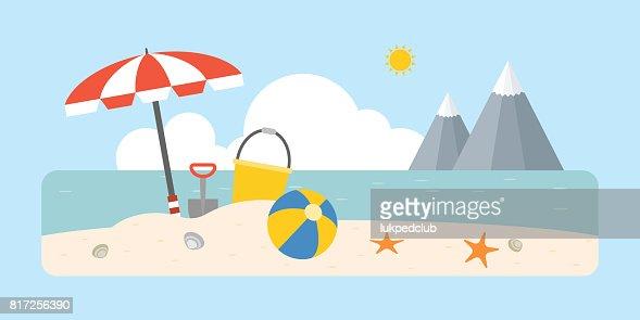 Beach Scene With Shovel And Bucket Beach Ball Umbrella On Coastal