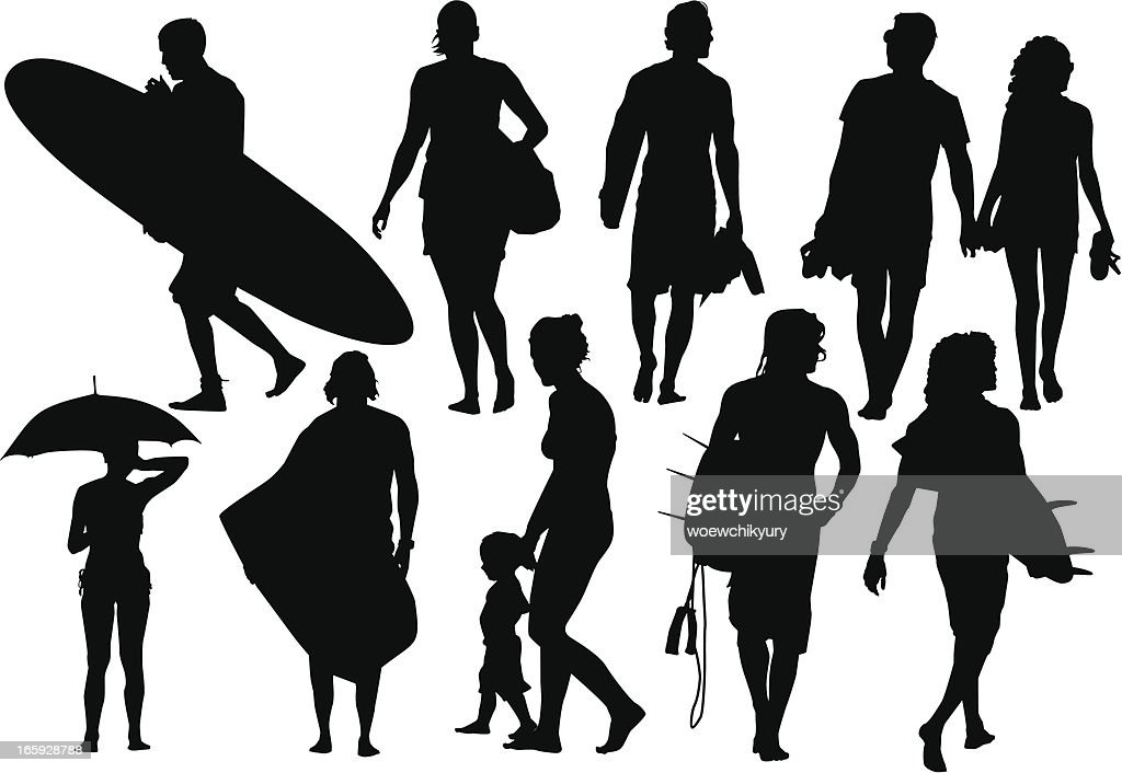 Beach silhouettes : Vector Art