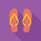 Beach slippers icon. Flat vector related icon with long shadow for web and mobile applications. It can be used as - logo, pictogram, icon, infographic element. Vector Illustration.