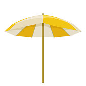 Beach umbrella on white background, cartoon illustration of beach accessories for summer holidays. Vector