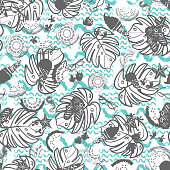Beach summer vacation seamless vector pattern. White, grey and blue vintage style.