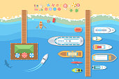 Beach top view - modern vector colorful illustration. A landscape with different types of boats, launch, pier, shark, recreation zone with umbrellas and beds
