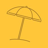 Beach umbrella linear icon on color background. Vector. Parasol