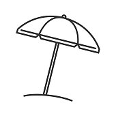 Beach umbrella linear vector icons. Thin line