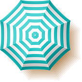 Beach umbrella, top view. Vector illustration with transparent effect, eps 10.