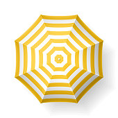 Beach umbrella, top view.  Vector illustration with transparent effect, eps10.