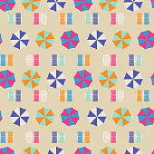 Beach umbrellas top view seamless vector pattern. Retro style riviera umbrellas on sand beach background.