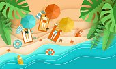 Beach vacation Tiny people sunbathe on tropical beach Top view background with sea waves, tropical leaves men and women, umbrella, deck chair, surfboard, starfish, papercut, paper craft Place for text